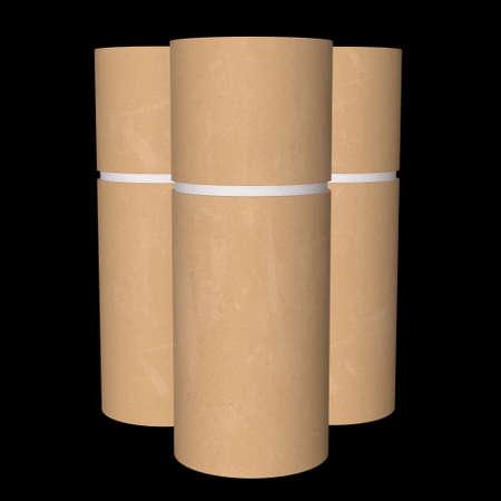 Kraft paper cardboard tube package mock up. 3d render on black background. Archivio Fotografico - 130135033