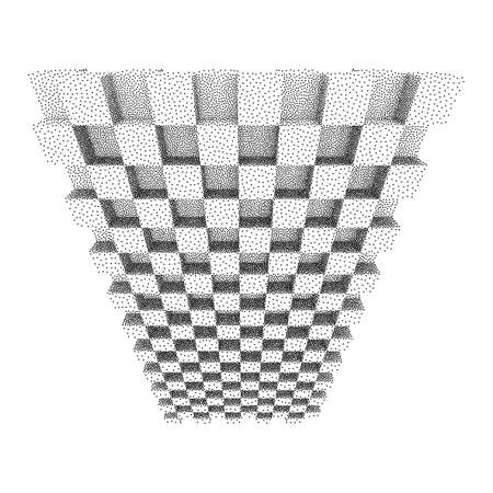 Dotwork Halftone low poly style geometrical boxes. Engraving Vector Illustration.