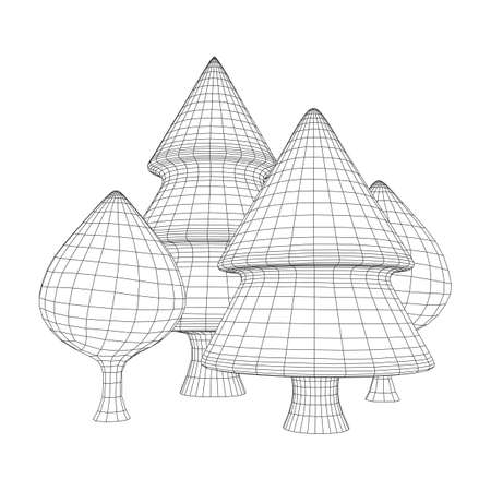 Mesh image of trees. Low poly background. Eco vector. Wireframe low poly mesh vector illustration  イラスト・ベクター素材