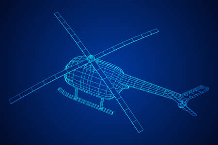 Helicopter aircraft vehicle. Wireframe low poly mesh vector illustration. Archivio Fotografico - 129795380