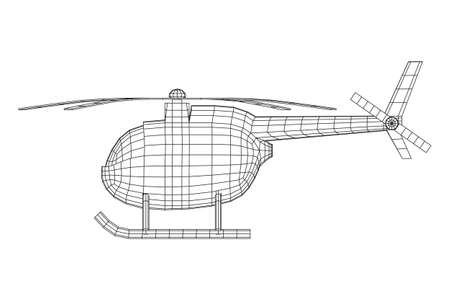 Helicopter aircraft vehicle. Wireframe low poly mesh vector illustration. Archivio Fotografico - 129795381