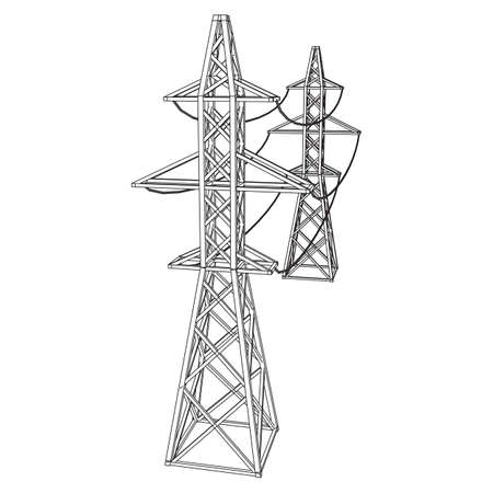 Power transmission tower high voltage pylon. Wireframe low poly mesh vector illustration Vector Illustratie