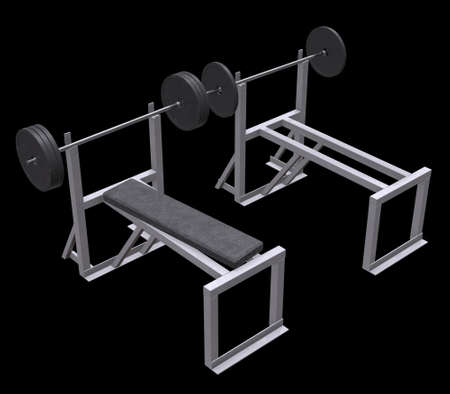 Barbell with weights. Gym equipment. Bodybuilding powerlifting fitness concept. 3d render illustration on black background.