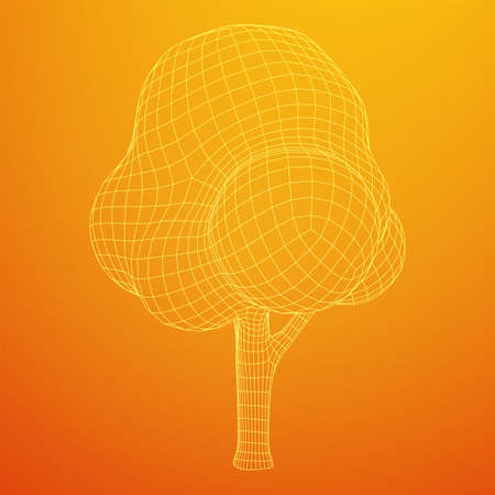 Mesh image of tree. Low poly background. Eco vector. Wireframe low poly mesh vector illustration