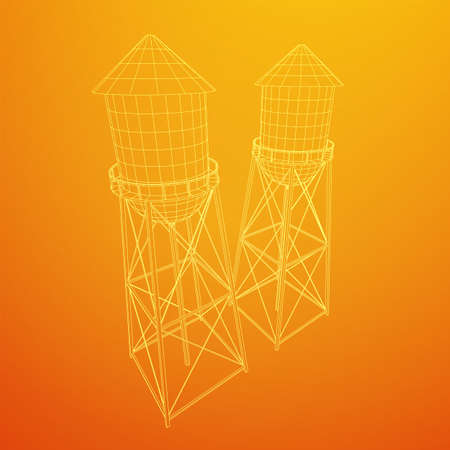 Water tower. Industrial construction with water tank. Wireframe low poly mesh vector illustration. 写真素材 - 129833326