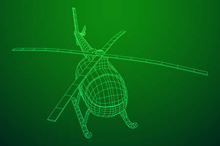Helicopter aircraft vehicle. Wireframe low poly mesh vector illustration. Archivio Fotografico - 129833328