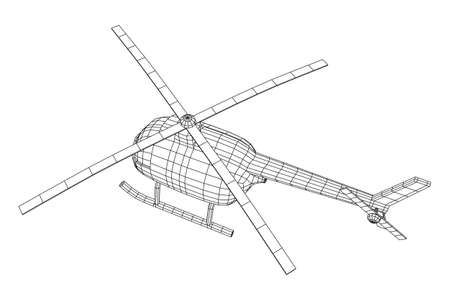 Helicopter aircraft vehicle. Wireframe low poly mesh vector illustration. Archivio Fotografico - 129833329