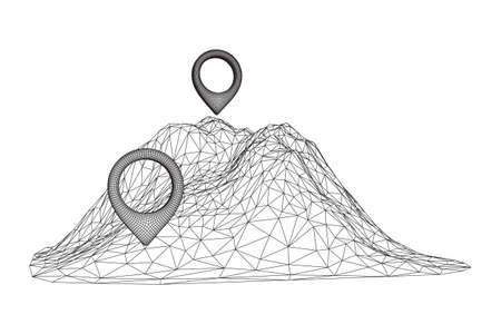 Geo map pin on mountain peak top. Place symbol GPS pictogram. Wireframe low poly mesh vector illustration