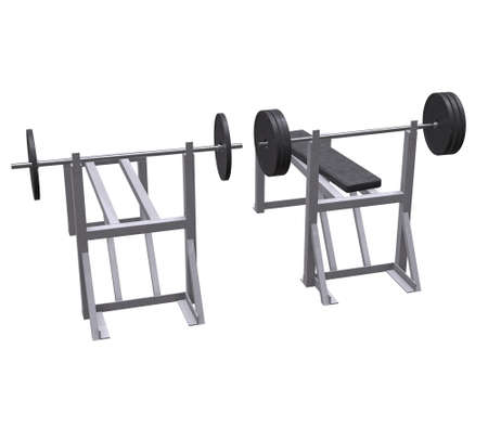 Barbell with weights. Gym equipment. Bodybuilding powerlifting fitness concept. 3d render illustration isolated on white background. 写真素材