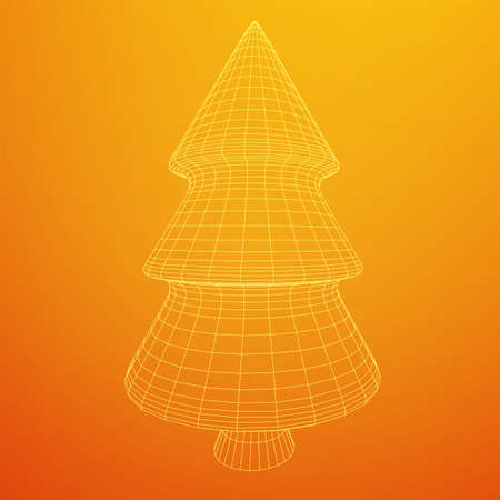 Wireframe A Christmas tree sign mesh. Wireframe low poly mesh vector illustration