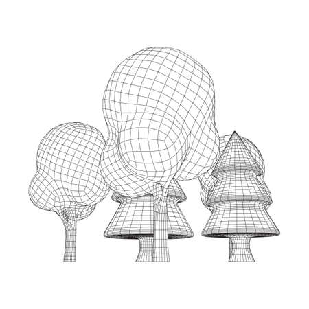Mesh image of trees. Low poly background. Eco vector. Wireframe low poly mesh vector illustration Stock Illustratie
