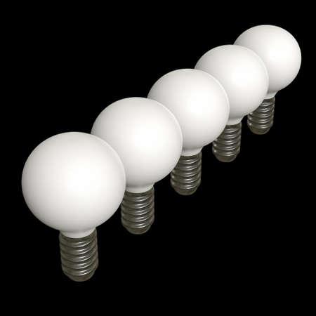 Lamp bulb. Business idea. 3d render illustration on black background.