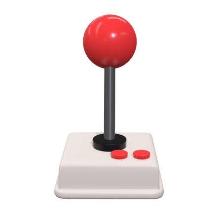 Retro video game controller gamepad joystick. 3d render illustration isolated on white background