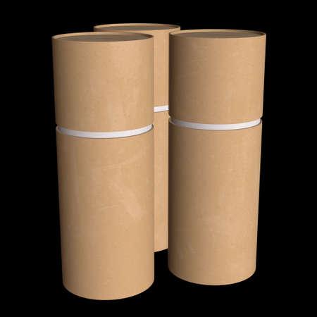 Kraft paper cardboard tube package mock up. 3d render on black background. Stock Photo