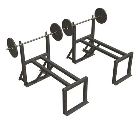 Barbell with weights. Gym equipment. Bodybuilding powerlifting fitness concept. 3d render illustration isolated on white background. Stock Photo