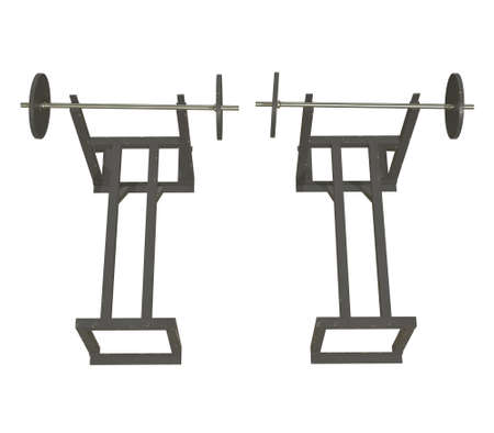 Barbell with weights. Gym equipment. Bodybuilding powerlifting fitness concept. 3d render illustration isolated on white background. Stock fotó