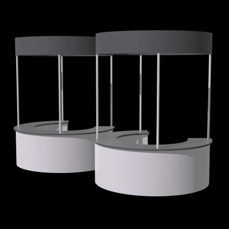 Stall or Kiosk Modern Reception Desk. Trade show booth white and blank. 3d render illustration on black background. Template mockup for your expo design. Banque d'images