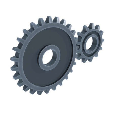 Gears. Mechanical technology machine engineering symbol. Industry development, engine work, business solution concept. 3d render illustration isolated on white background