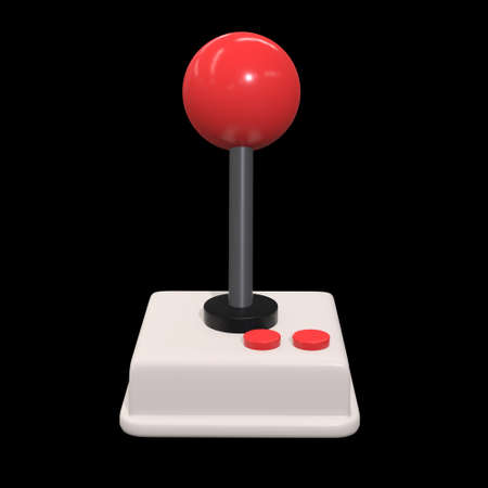 Retro video game controller gamepad joystick. 3d render illustration on black background