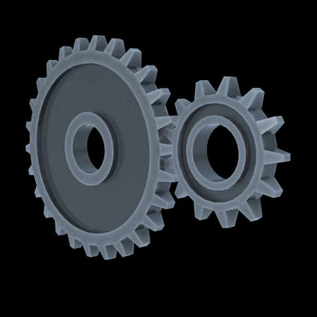 Gears. Mechanical technology machine engineering symbol. Industry development, engine work, business solution concept. 3d render illustration on black background 스톡 콘텐츠 - 130134998