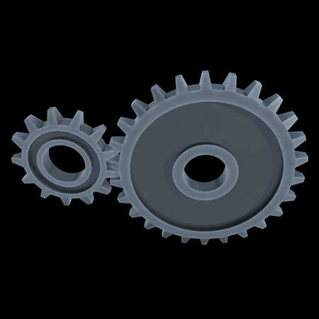Gears. Mechanical technology machine engineering symbol. Industry development, engine work, business solution concept. 3d render illustration on black background 스톡 콘텐츠 - 130134999