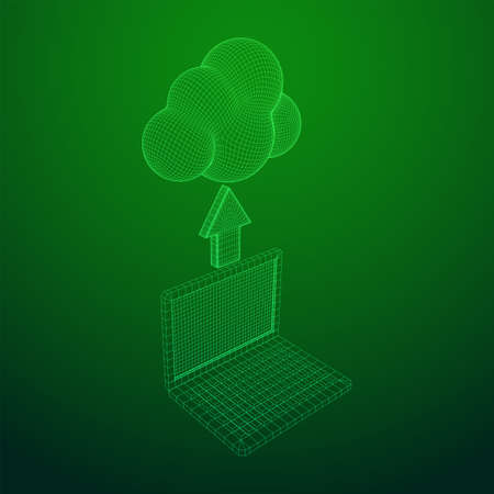 Concept of cloud computing service with laptop technology. Wireframe low poly mesh vector illustration
