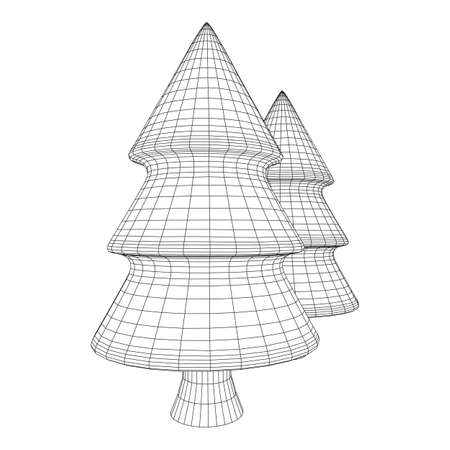 Wireframe Christmas tree sign mesh. Wireframe low poly mesh vector illustration