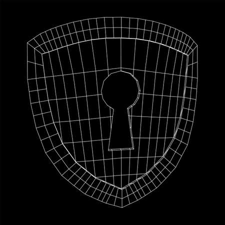 Cyber security concept. Shield with keyhole composed of polygons. Business data protection. Wireframe low poly mesh vector illustration. Фото со стока - 130135007