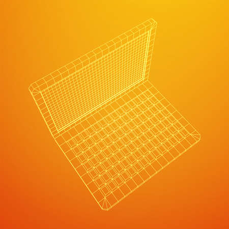 Laptop Abstract Mesh Background. Design computer. Wireframe low poly mesh vector illustration Stock Vector - 130134848