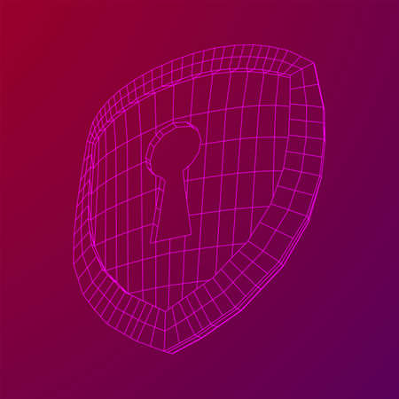 Cyber security concept. Shield with keyhole composed of polygons. Business data protection. Wireframe low poly mesh vector illustration.