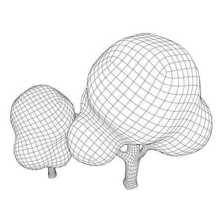 Mesh image of trees. Low poly background. Eco vector. Wireframe low poly mesh vector illustration Illustration