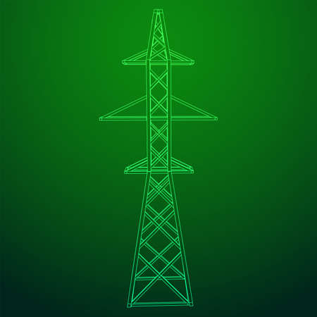 Power transmission tower high voltage pylon. Wireframe low poly mesh vector illustration Banque d'images - 130547472