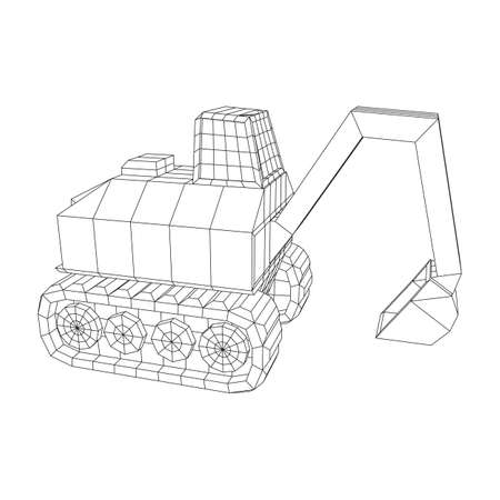 Excavator heavy equipment construction company. Wireframe low poly mesh vector illustration