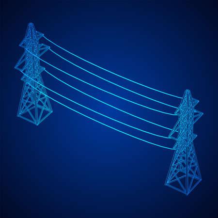 Pylône haute tension de la tour de transmission de puissance. Illustration vectorielle filaire low poly mesh Vecteurs