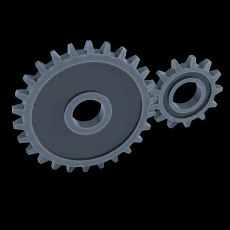 Gears. Mechanical technology machine engineering symbol. Industry development, engine work, business solution concept. 3d render illustration on black background Фото со стока