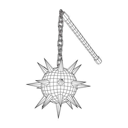 Medieval chained mace ball. Wireframe low poly mesh vector illustration. Banco de Imagens