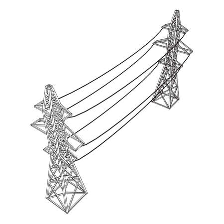 Power transmission tower high voltage pylon. Wireframe low poly mesh vector illustration Banque d'images - 130581157
