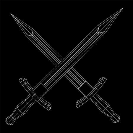 Blade sword or knife bayonet. Model wireframe low poly mesh vector illustration