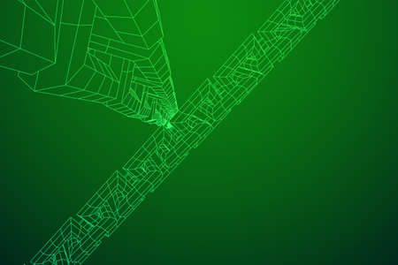 Wireframe BlockChain links. Chain wireframe low poly mesh vector illustration