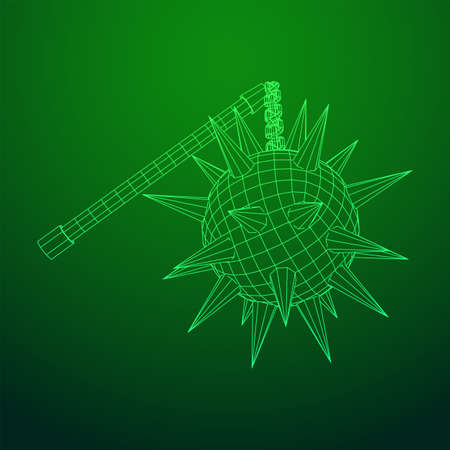 Medieval chained mace ball. Wireframe low poly mesh vector illustration. Ilustração