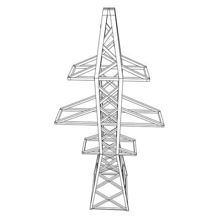 Power transmission tower high voltage pylon. Wireframe low poly mesh vector illustration Banque d'images - 130630109