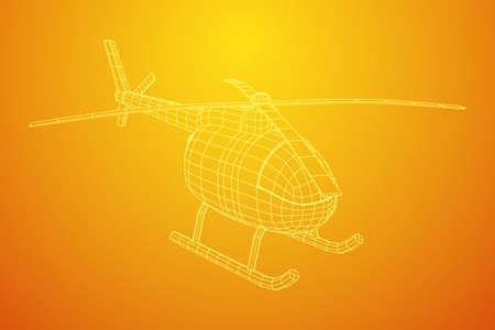 Helicopter aircraft vehicle. Wireframe low poly mesh vector illustration. Фото со стока - 130630127