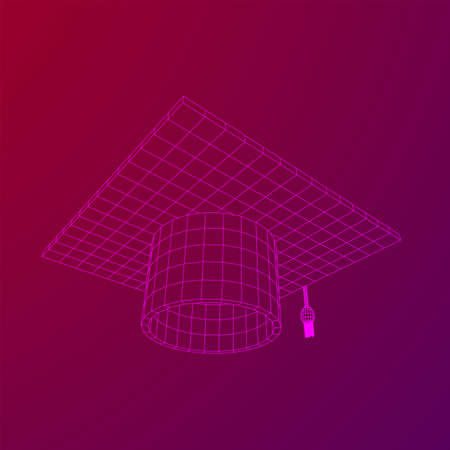 Education Graduation Academic Cap. Wireframe low poly mesh vector illustration.