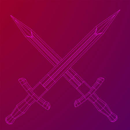 Blade sword or knife bayonet. Model wireframe low poly mesh vector illustration