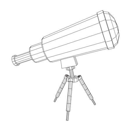 Astronomical telescope scientific instrument for exploring and discovering. Wireframe low poly mesh vector illustration.