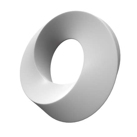 Mobius strip ring sacred geometry. Spatial figure with upturned surfaces. Optical illusion with dual circular contour. 3d render isolated on white background