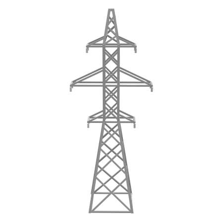 Power transmission tower high voltage pylon. Low poly 3d render isolated on white background.