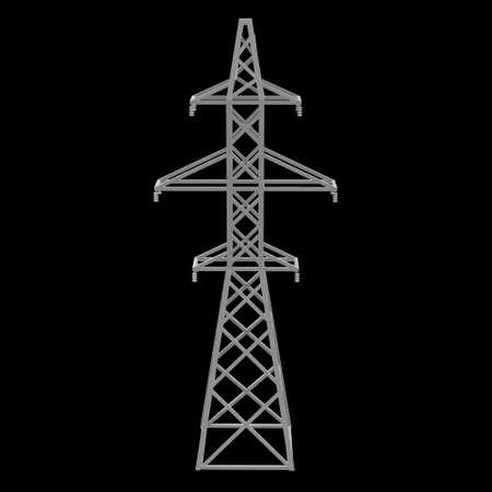 Power transmission tower high voltage pylon. Low poly 3d render on black background.