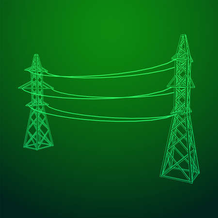 Power transmission tower high voltage pylon. Wireframe low poly mesh vector illustration