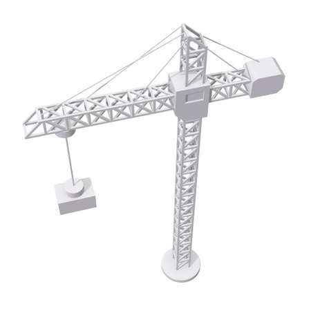 Tower construction building crane. 3d render low poly isolated on white background Banque d'images - 131159031